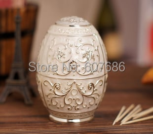 3 Pieces Egg Type Embossed Metal Automatic Toothpick Tooth-pick Holder Box 3 Color Storage Box for Home Hotel Bar Pub Free Ship