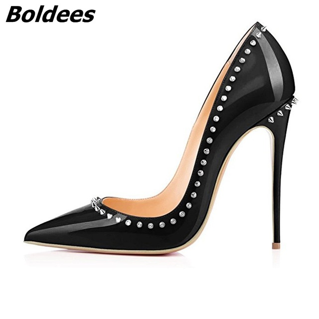Black Patent Leather High Heels Women Sexy Point Stiletto High Heel Pumps IN STOCK Rivets Slip-on High Heel Office Shoes 12CM