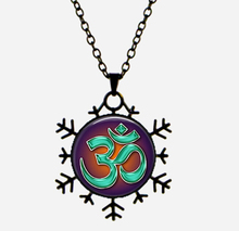 SUTEYI 3 colors handmade pendant om necklace yoga jewelry zen vintage snowflake glass necklace om silver necklace 2017