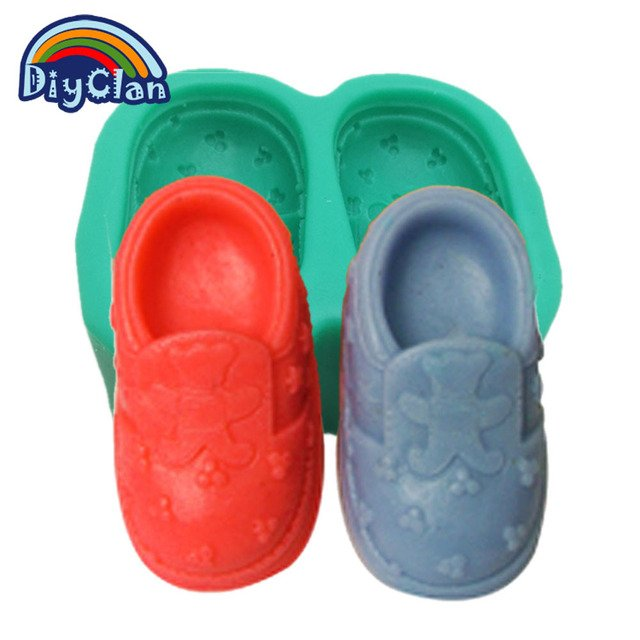 Bear Shoes Silicone Mold For Cake Pudding Jelly Dessert Chocolate Mold Bear Style Baby Shoes Handmade Soap Mould S0088XZ