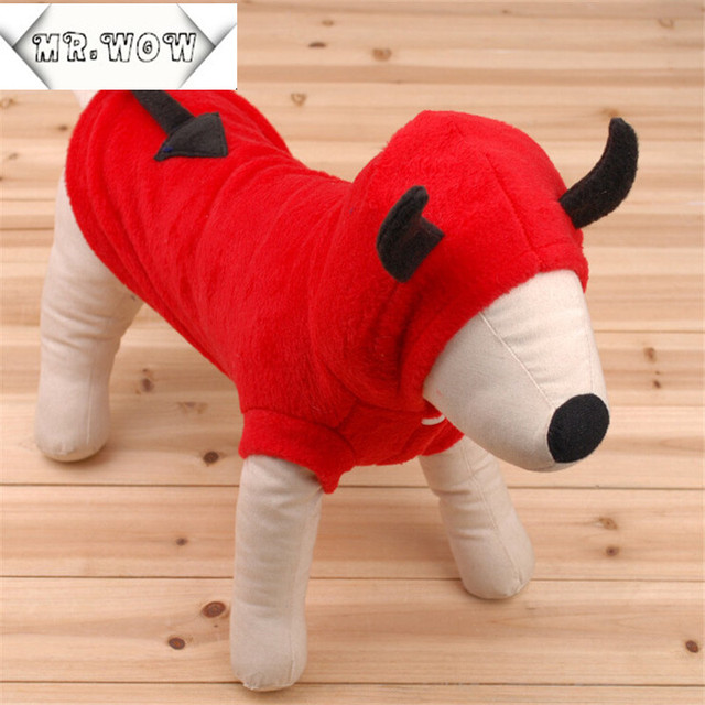2015 New Dog Clothes Winter Cute Devil Hoodie Pet Clothes Puppy Crossdressers Fleece Coat Warm Costumes Free Shipping