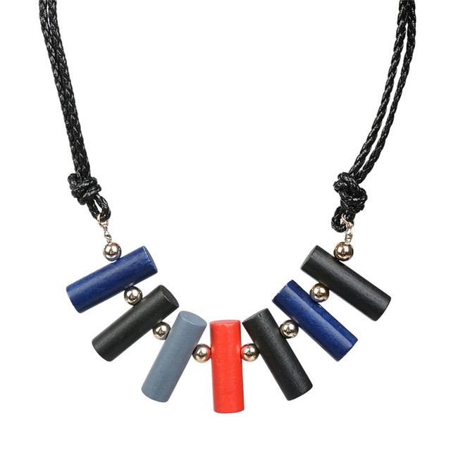 1 Pc Handmade Leather Cord Wood Pendant Necklace Women Cylinder Design Statement Neck Jewelry Accessories
