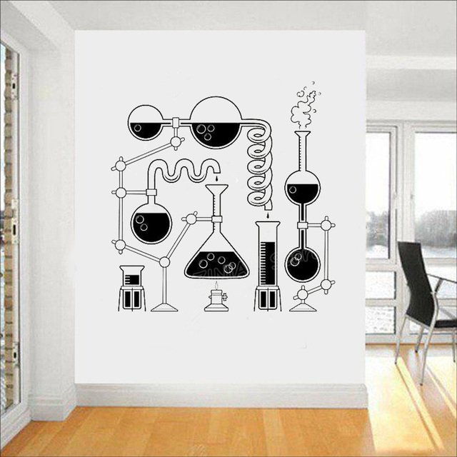 Science Beakers Wall Art Stickers for Bedroom Removable Funny Education Decals Scientist Chemistry Vinyl Decal Wallpaper Z997