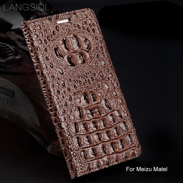 wangcangli genuine leather flip phone case Crocodile back texture ForMeizu Matel All-handmade phone case