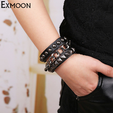 EX-MOON Mens Punk Chain Link Wide Leather Cuff Bracelets Males New Design Vintage Charm Bracelet Jewelry Gift Pulseiras