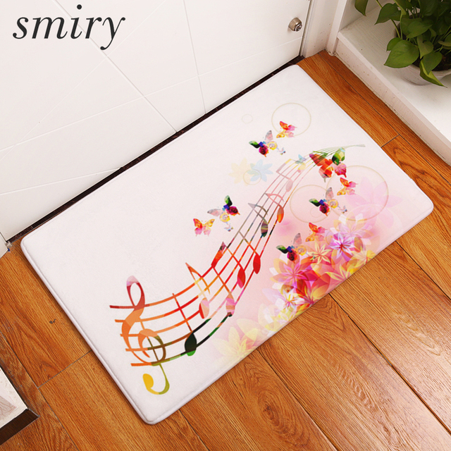 Smiry Flannel Entrance Home Anti Slip Rug Vintage Floral Musical Note Colorful Violin Mats Muti-purpose Bathroom Kitchen Carpets