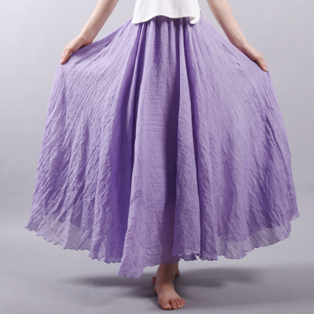 Women Cotton Linen Skirt Purple Long High Waist Large Size Elastic A Line Girls Skirts Pleated Solid Color Ethnic Vintage Hot