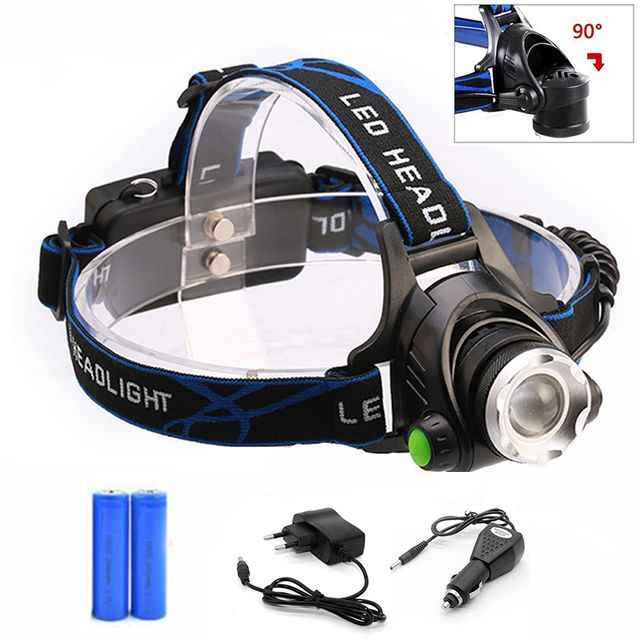 LED Headlamp Zoomable 4000LM T6 Head Flashlight Torch Rechargeable Head Light Forehead Lamp Head Fishing Camping Headlight