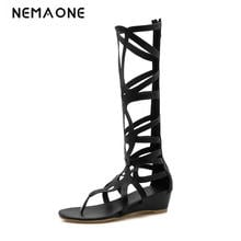 2018 fashion gladiator women shoes summer boots ladies wedges knee boots low heel shoes woman black summer shoes