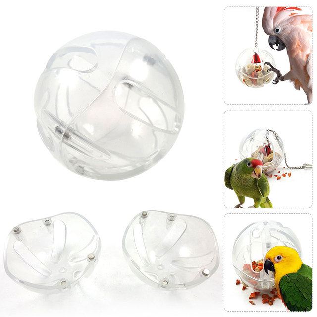 Transparent Parrot Feeder Balcony Outdoor Hamsters Durable Mini Small Animals Rats Parrot Eating Ball Sturdy Mice White