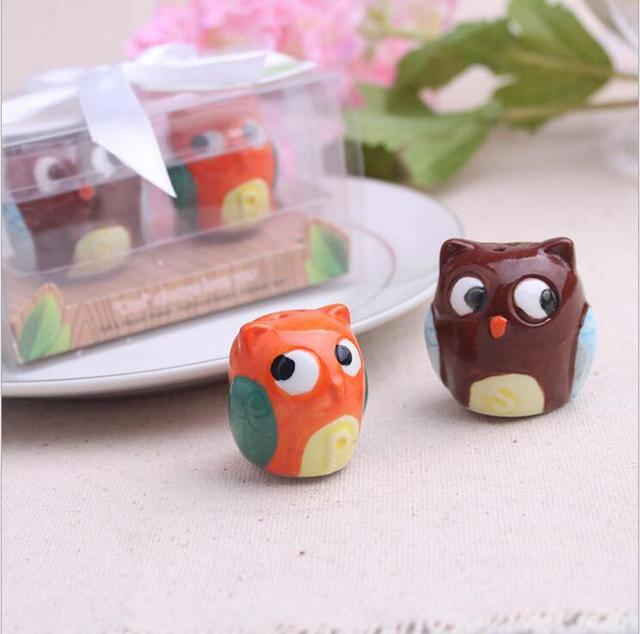2pcs/set Cute Owl Salt & Pepper Shaker Wedding Favors And Gifts For Guests Souvenirs Decoration Event & Party Supplies