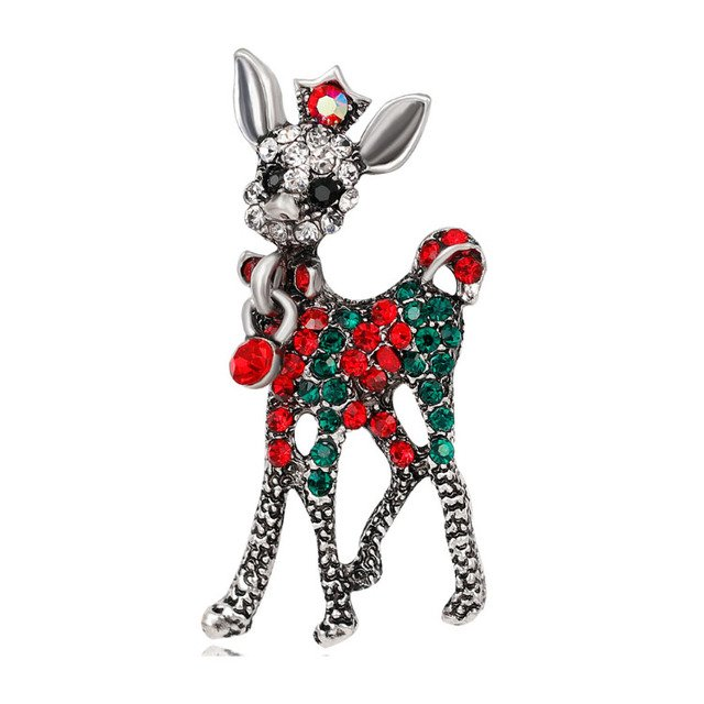 30pcs/lot Christmas reindeer brooch rhinestone baby deer brooch pin
