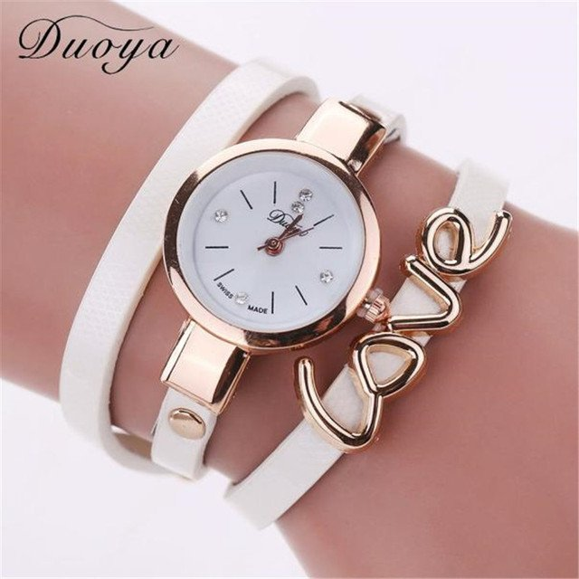 Duoya Brand Fashion Casual Strap Dress Watches Women Style Watch  Quartz Watch Women Love Handmade Bracelet Wristwatch Clock
