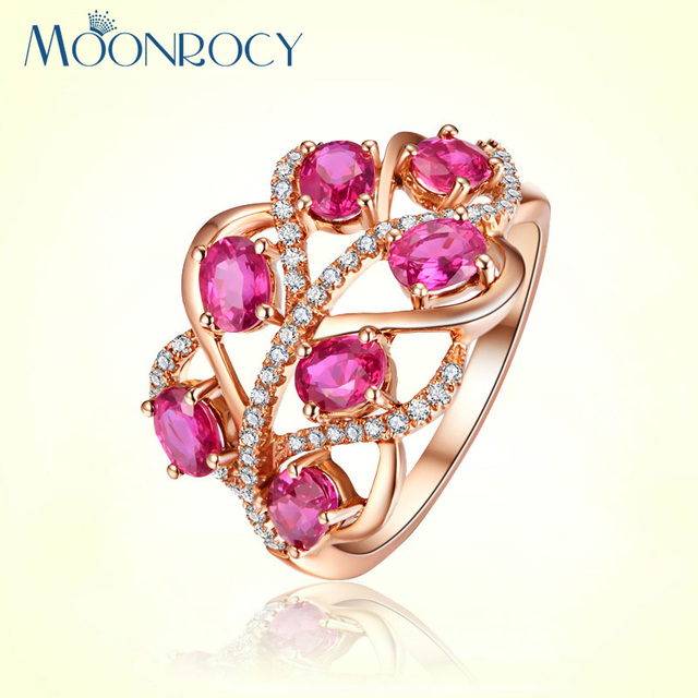 MOONROCY Free Shipping Cubic Zirconia Jewelry Wholesale Rose Gold Color Rose Red CZ Crystal Rings for Women Girls Gift