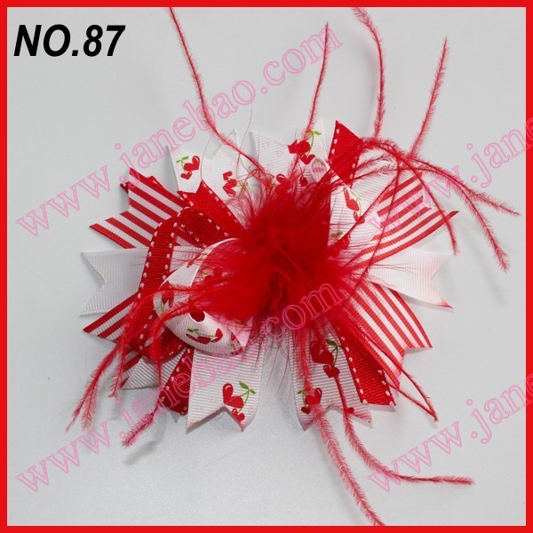 free shipping 20pcs mix color fashion boutique girl hair bows feather bows popular  hair clips