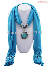 Free Shipping 2014 Pendant Scarf Jewelry New style Turquiose Charms Scarves with Cotton A0004