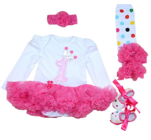 4PCs per Set Baby Girl Hot Pink Crown Tutu Dress Infant 1st Birthday Party Outfit Leg Warmers Shoes Headband