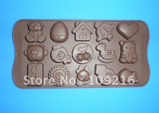 Green Good Quality 100% Food Grade Silicone Chocolate Mold/Muffin Cupcake Pan  New Multiple-Style Fashion DIY Mold(NO.1)