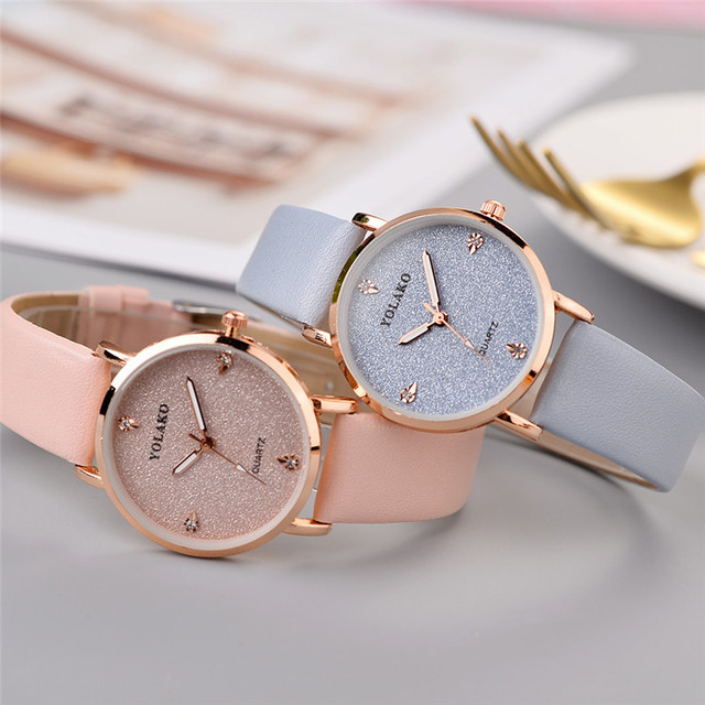 Luxury Women Watches Ladies Casual Quartz Leather Band Analog Wrist Watch Simple Crystal Starry Sky Watch Gift reloj mujer /C