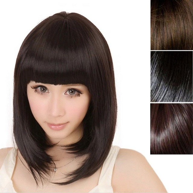 Short Bob Natural Black Brown Head Women Wig Day Daily Wear Party Hair Wigs Dark Brown Synthetic Hair Wig With Bangs Pelucas