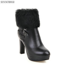 2018 large size 34-43 Fashion Women Snow Boots Warm Fur Shoes high Heel Shoes Platform ankle Boots Winter
