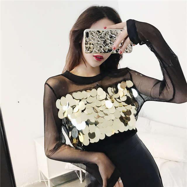 Missoov designer fashion T shirts spring sexy club style women brand tshirt mesh sequined perspective  tops camisetas mujer tees