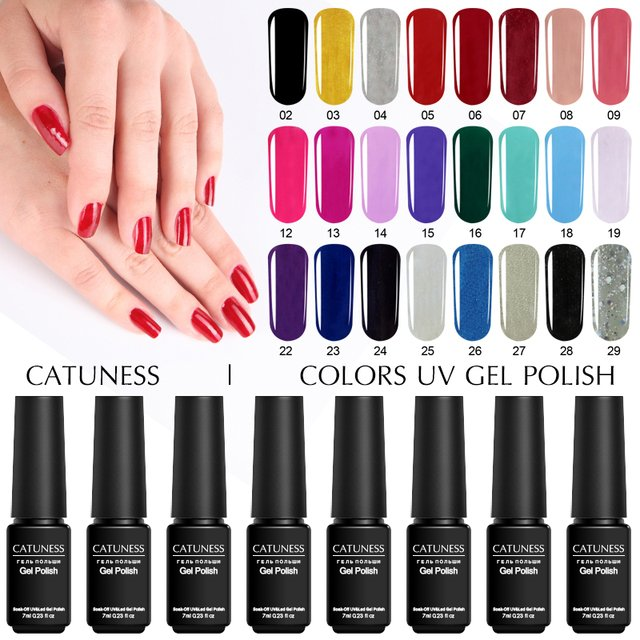 CATUNESS Lucky Colorful Semi-Permanent Gel Hybrid Lacquer 29 Colors Nail Polish Long-Lasting Soak Off Uv Lucky Gel Lacquer