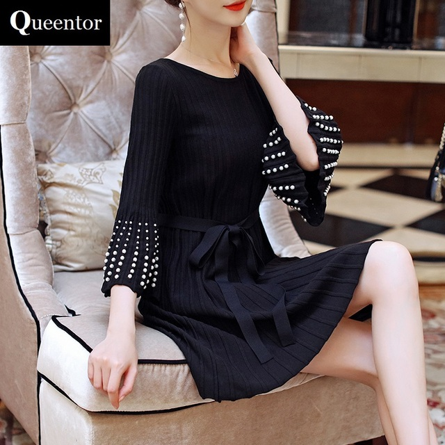 Original Knitted Dress Female 2017 Autumn Winter Beading Flare Sleeve Slim Elegant Casual Sweater Dresses Women Wholesale