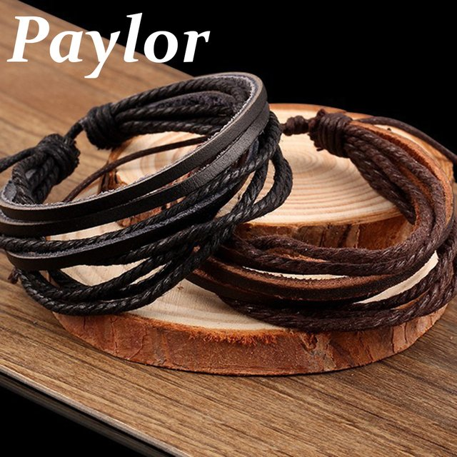 Paylor Hot Sell Handmade Fashion Jewelry Wrap Multilayer Leather Braided Rope Wristband Men Punk Bracelets & Bangles For Women