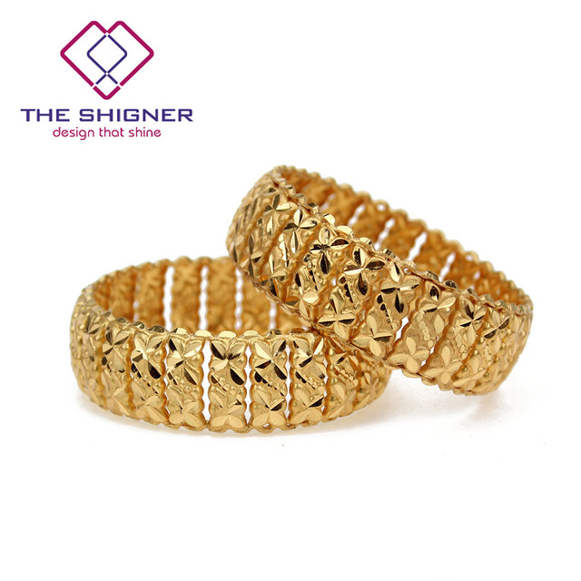 THE SHIGNER Gold Color Indian Kada 2PCS Bangle Traditional Bollywood Bracelet Ethnic Indian Party Jewelry gift for Women 2*4 2*8