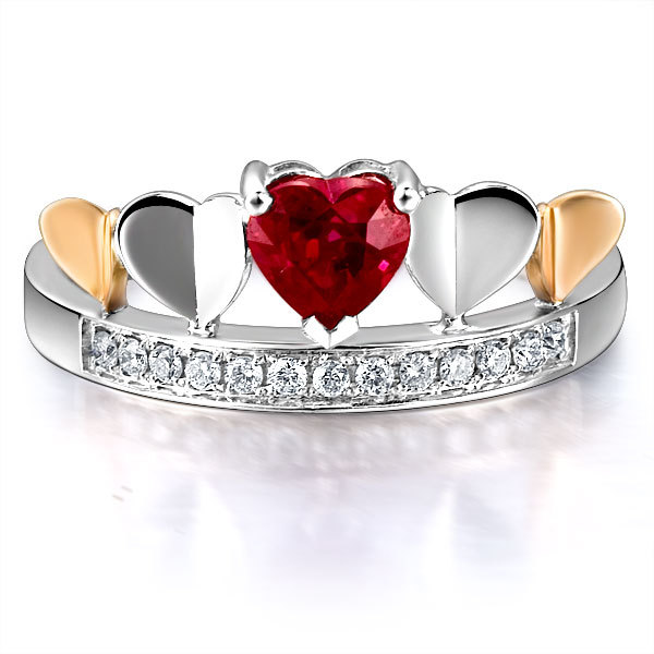 Delicate Ring GVBORI Ruby + Natural Diamond 18k Rose Gold Wemen Ring  Fashion and Beautiful Special Gift For Girlfriend