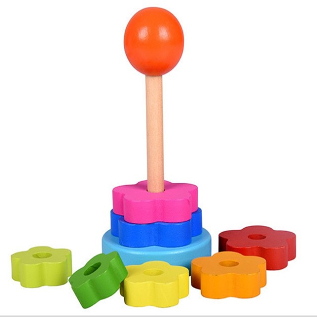 Kids Colorful Wooden Toys Stacking Ring Tower Stacking Ring Blocks Learning Educational Toys For Children Rainbow Stack Up Toys