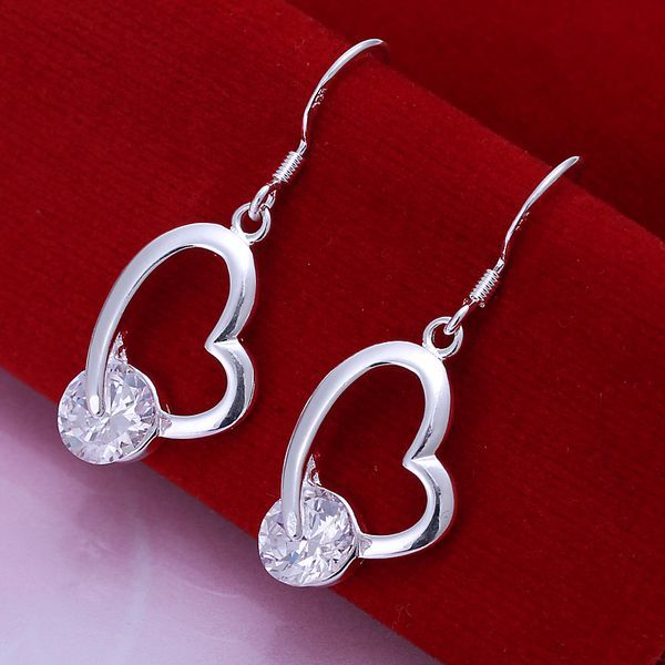 Fashion silver plated Earring for Women 925 jewelry silver plated For Women Inlaid Heart Earrings E150 /UEFNTVKVE150