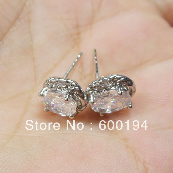 Clear Crystal Post Earrings Made with Zircon Elements free shipping