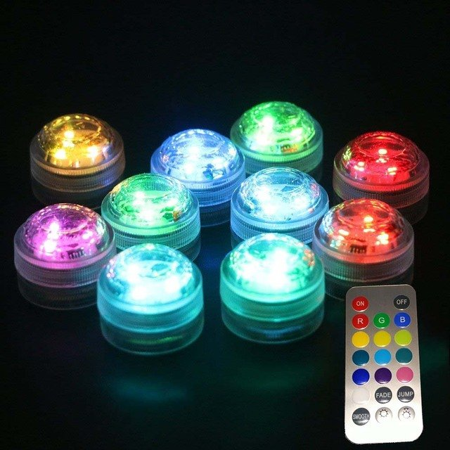 KITOSUN! Super Bright LED Light RGB color Changing Submersible Remote Controll Floral Candle  Mini Tea LED Light  For Party