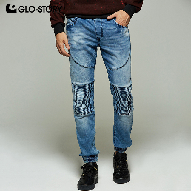 GLO-STORY Men's 2019 New Motor Biker Elastic Waist Soft Full Length Jeans Pants Men Pleated Knee Denim Trousers MNK-8210