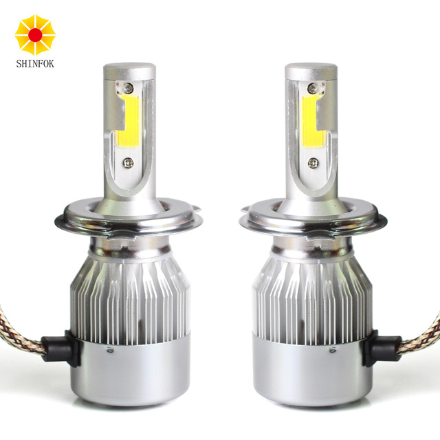 H4 Hi/Lo HB2 2PCS LED Headlight Bulbs High Power COB Chips 6000K Free Shipping Auto Car Styling Repalcement Headlamp
