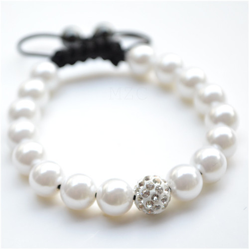 Free shipping! white Best new style micro pave CZ Disco Ball Beads  crystal  Bracelet  fasion women  lot