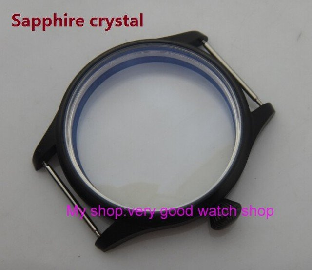 Sapphire crystal 44MM 316L stainless steel watch case with Plating black fit 6497/6498 Mechanical Hand Wind movement 13-8a