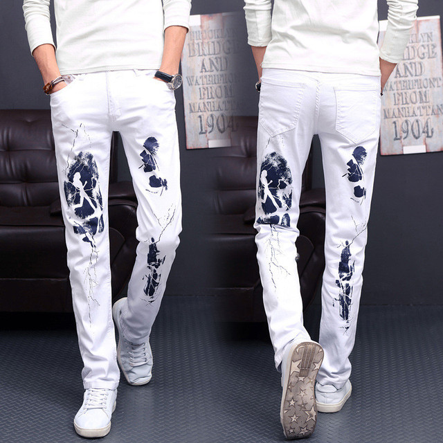 Men Jeans fashion Summer white Casual Slim Straight Jean Stretch Denim Pants Classic Cowboys Young Man Trousers