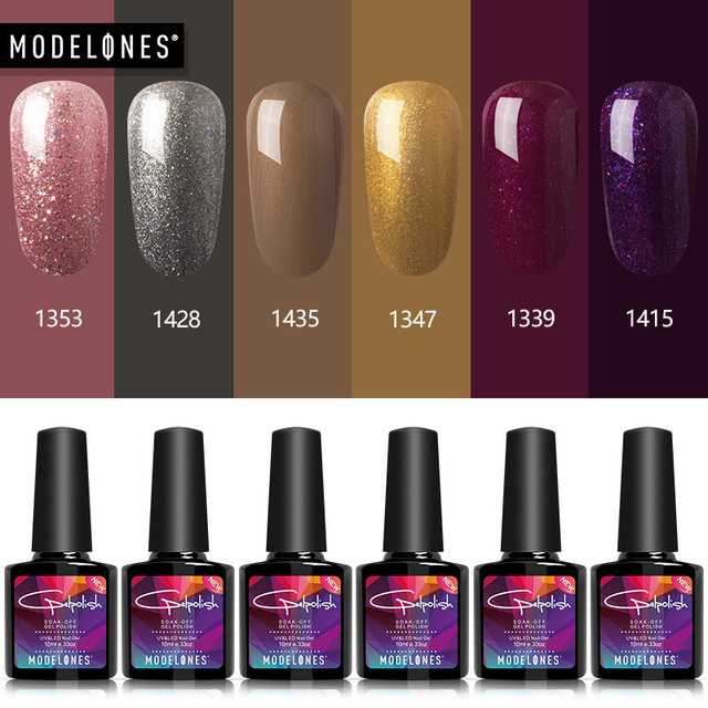 Modelones 6Pcs/Lot Brown Color Series Gel Nail Art Kits Semi Permanent UV Nail Gel Polish Long Lasting Led Nail Gel Varnish Set