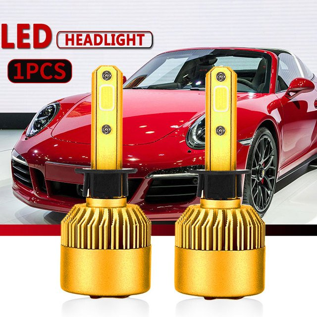 H1 Gold Car Accessories LED Fog Light Universal Lighting Assembly LED Headlight High Power Light Bulbs Front Lamp Replacement