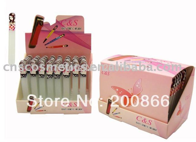Factory directly seller-- 48 pcs glass nail file with cute girl printing handle
