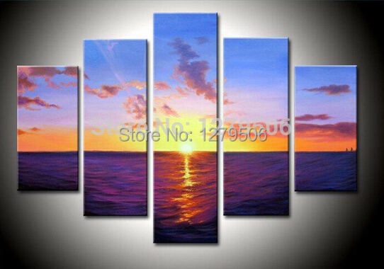 100% Hand Painted Sunrise On The Ocean Landscape Oil Painting On Canvas 5Pcs/set Paintings Wall Decoration
