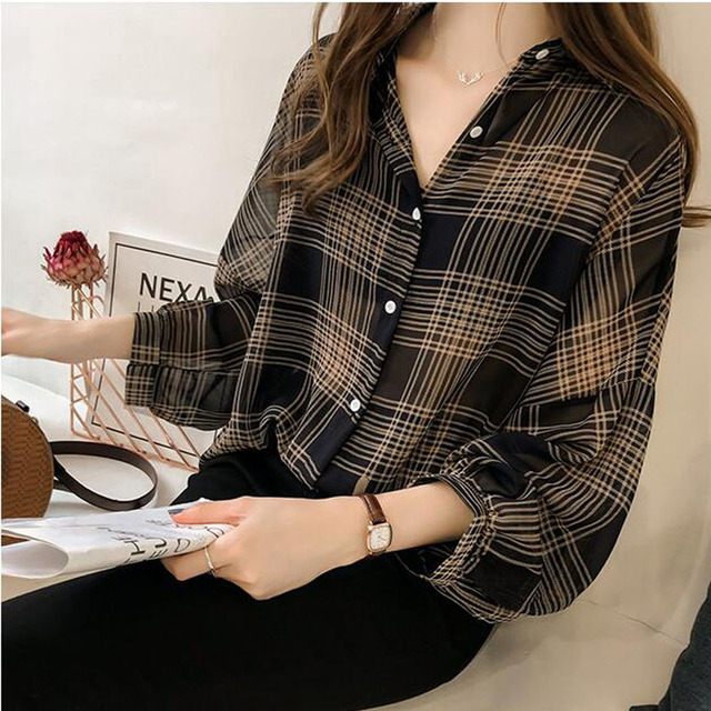 Women's Spring and Autumn Large Size Plaid Shirt Top Chic Loose BF Plaid Long Sleeve Tulle Shirt Women's Tops Hong Kong