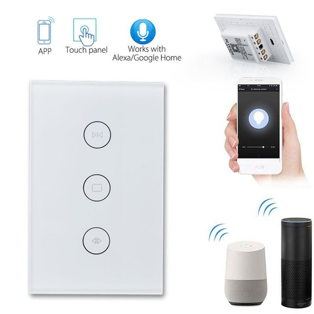 Wall Switch Voice Control Timing Phone APP Wifi Electrical Blinds Switch Wifi Curtain Switch Delay Wifi Curtain Roller Switch