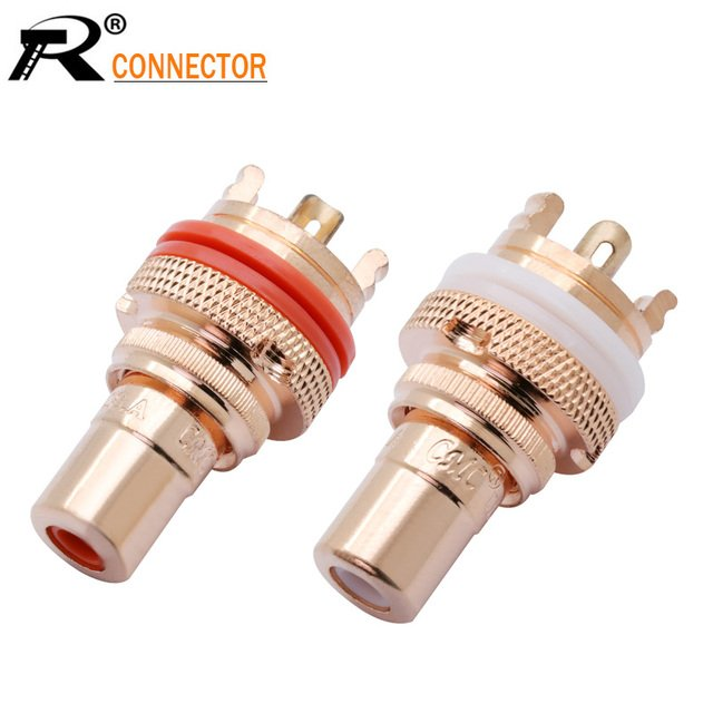 20Pcs/10Pairs Copper CMC RCA Female Terminal Jack Socket AV Audio Video Connector High Quality