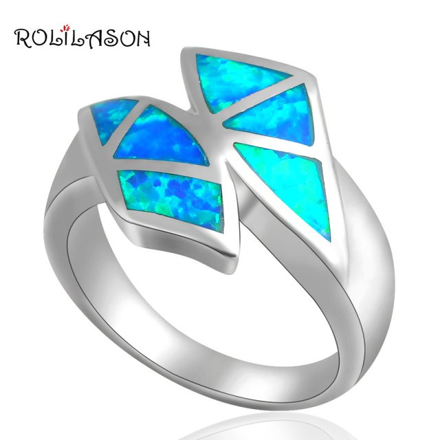 Wholesale & Retail top quality silver plated Blue Opal Rings fashion jewelry best wishes USA SIZE #7 #7.5 OR265