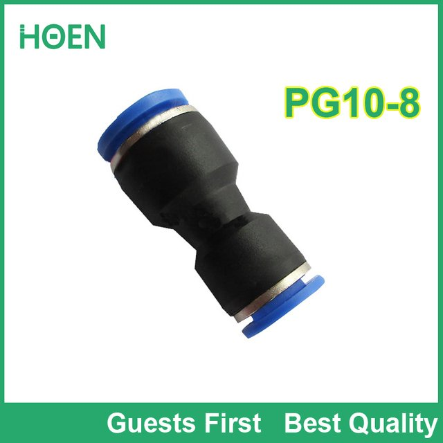 100 pcs/lot PG Unequal Straight Union PG10-8 10mm to 8mm Air Tube Fitting One touch push In pneumatic fitting connectors