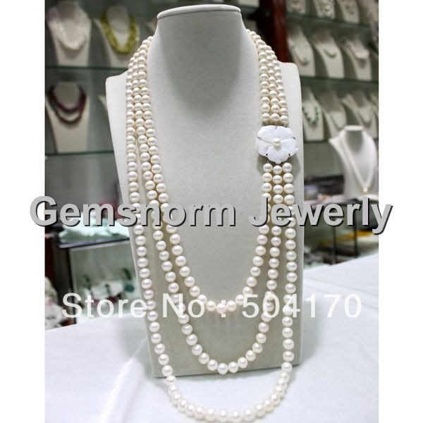 Free Shipping  Charms 3 Strands White  Pearl Necklace Handmade Knotted Long Rows Necklace FP034